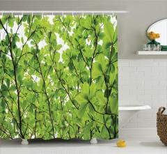 Yeşil Yapraklı Ağaç Temalı Duş Perdesi Doğa Bahar