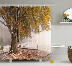 Ağaç ve Dikenli Tel Temalı Duş Perdesi Kar Manzaralı