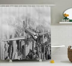 New York Uçak ve Gökdelen Desenli Duş Perdesi Retro