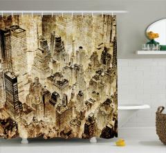 Bej Gökdelen Desenli Duş Perdesi Modern Şık Tasarım