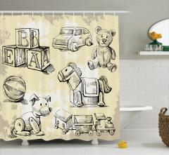 Nostaljik Oyuncak Desenli Duş Perdesi Çocuklar İçin