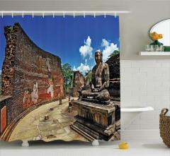 Antik Buda Heykeli Temalı Duş Perdesi Uzak Doğu