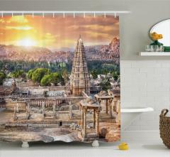 Tapınak ve Antik Kent Temalı Duş Perdesi Gün Doğumu