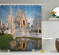 Beyaz Tapınak ve Havuz Temalı Duş Perdesi Uzak Doğu