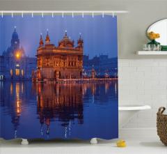 Altın Tapınak ve Havuz Temalı Duş Perdesi Nostaljik