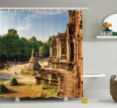 Orman ve Antik Tapınak Temalı Duş Perdesi Uzak Doğu