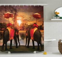 Filler ve Antik Kule Manzaralı Duş Perdesi Pembe