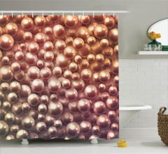 Kahverengi Duş Perdesi Işıltılı İnci Desenli Trend