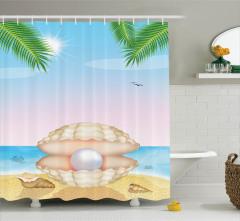 Deniz Manzaralı Duş Perdesi Deniz Kabuğu Martı İnci
