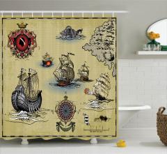 Ahşap Gemi ve Savaş Desenli Duş Perdesi Nostaljik