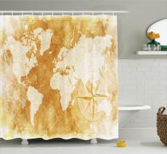 Dünya Haritası ve Pusula Desenli Duş Perdesi Bej
