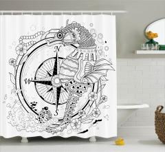 Deniz Atı İnci ve Pusula Desenli Duş Perdesi Çiçekli