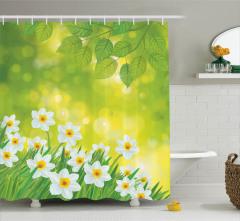 Çiçek Desenli Duş Perdesi Beyaz Nergis Sarı Yeşil