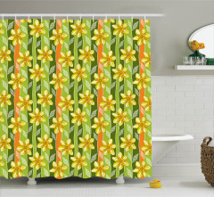 Yeşil Duş Perdesi Sarı Nergis Çiçekli Tasarım