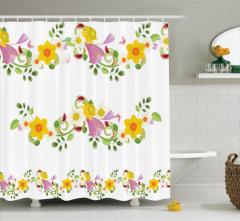Rengarenk Çiçek Desenli Duş Perdesi Bahar Kelebekler
