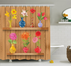Rengarenk Duş Perdesi Çiçek Desenli Gül Menekşe