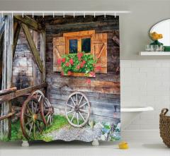 Çiçekli Pencere ve Tekerlek Temalı Duş Perdesi Ahşap