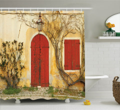 Antik Ev ve Sarmaşık Temalı Duş Perdesi Sarı Kırmızı