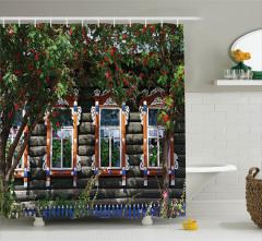 Ağaç Çiçek ve Antik Ev Temalı Duş Perdesi Dekoratif