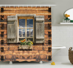 Ahşap Pencere ve Çiçek Temalı Duş Perdesi Kahverengi