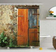 Taş Ev ve Ahşap Kapı Temalı Duş Perdesi Nostaljik