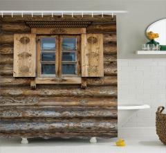 Kahverengi Ahşap Pencere Temalı Duş Perdesi Antik