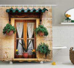 Çiçekli Ahşap Pencere Temalı Duş Perdesi Dekoratif