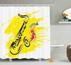 Sarı Dekoratif Saksafon Desenli Duş Perdesi Müzik
