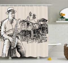 Saksafon ve Yazlık Ev Desenli Duş Perdesi Retro