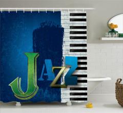 Mavi Caz ve Piyano Desenli Duş Perdesi Şık Tasarım