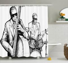 Caz Müziği ve Orkestra Desenli Duş Perdesi Retro