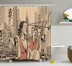 Müzisyen ve Modern Şehir Desenli Duş Perdesi Pembe