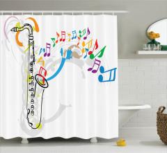 Saksafon ve Rengarenk Nota Temalı Duş Perdesi Müzik