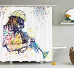 Rengarenk Caz ve Müzisyen Desenli Duş Perdesi Müzik