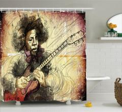 Gitar ve Afro Müzisyen Desenli Duş Perdesi Rengarenk