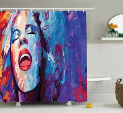 Güzel Şarkıcı Kadın Desenli Duş Perdesi Rengarenk
