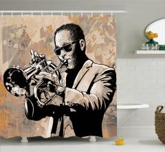 Caz Müzik ve Afro Desenli Duş Perdesi Pembe Fonlu