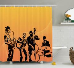 Dekoratif Caz Müziği Desenli Duş Perdesi Turuncu