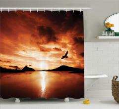 Kuş Gün Batımı ve Göl Desenli Duş Perdesi Kahverengi