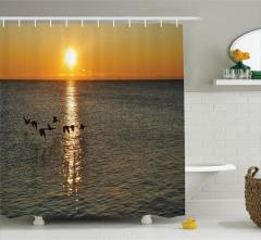 Güneş Kuş ve Deniz Temalı Duş Perdesi Gün Doğumu
