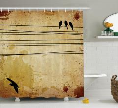 Teldeki Kuşlar Desenli Duş Perdesi Bej Arka Planlı
