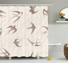 Gri Kırlangıç Kuşu Desenli Duş Perdesi Şık Tasarım