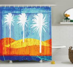 Tropikal Ada Temalı Duş Perdesi Modern Sanat Turuncu