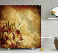 Nostaljik Papatyalar Desenli Duş Perdesi Çiçekler