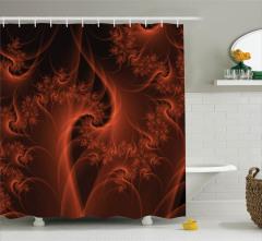 Duş Perdesi Siyah Kırmızı Modern Şık Tasarım