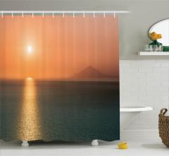 Nostaljik Duş Perdesi Okyanusta Romantik Gün Batımı