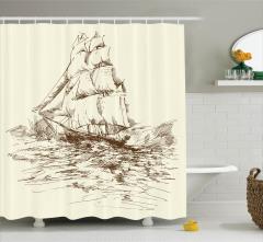 Yelkenli Gemi ve Dalga Desenli Duş Perdesi Deniz