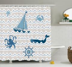 Yelkenli Tekne ve Dalga Desenli Duş Perdesi Mavi