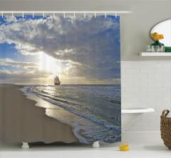 Kumsal Manzaralı Duş Perdesi Denizde Yolculuk Temalı