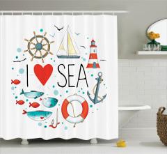Deniz Sevgisi Temalı Duş Perdesi Balıklar Çapa Beyaz